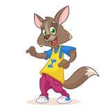 Mascota del lobo del baile: lobo divertido del baile, estilo del disco, personaje de dibujos animados Ilustración del vector ilustración del vector