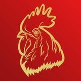 Mascota del logotipo del gallo hoja principal del ejemplo del vector del gallo Foto de archivo
