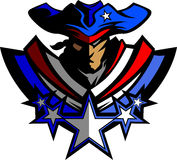 Mascota del patriota con las estrellas y el gráfico I del sombrero Fotos de archivo