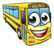 Mascota del personaje de dibujos animados del autobús escolar Foto de archivo libre de regalías