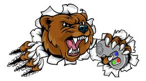 Mascota enojada de Esports del oso Foto de archivo