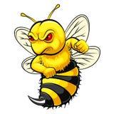 Mascota enojada de la abeja ilustración del vector