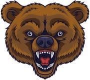 Mascota enojada de la cabeza del oso ilustración del vector