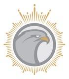 Mascota enojada del águila label logotipo stock de ilustración