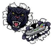 Mascota enojada del videojugador de la pantera negra Imágenes de archivo libres de regalías