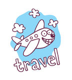 Mascota linda del aeroplano de la historieta Imágenes de archivo libres de regalías