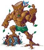 Mascota muscular del árbol que machaca el ejemplo del vector de la roca Fotos de archivo libres de regalías
