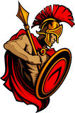 Mascota Trojan espartano con la lanza y el blindaje Imágenes de archivo libres de regalías