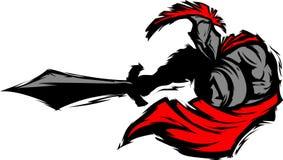 Mascota Trojan espartano de la silueta con la espada Imágenes de archivo libres de regalías