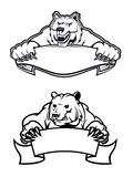 Mascotas enojadas de los osos con las banderas Imagen de archivo libre de regalías