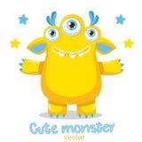 Mascote amarela do monstro dos desenhos animados Monstro amigável Meme Cara feliz verdadeira Imagens de Stock Royalty Free