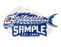 Mascote animal dos desenhos animados do osso de peixes na ilustração Foto de Stock