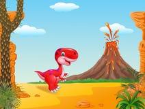 Mascote bonito do dinossauro com fundo do vulcão Imagem de Stock