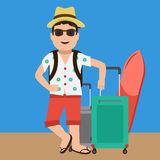 Mascote considerável bonito e feliz do turista Projeto liso da cor ilustração stock
