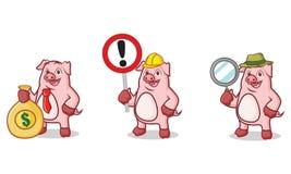 Mascote cor-de-rosa do porco com dinheiro Imagem de Stock