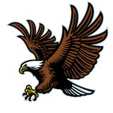 Mascote da águia americana do voo fotografia de stock