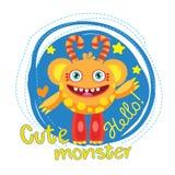 Mascote da bola do monstro dos desenhos animados Monstro mágico da varinha Urso engraçado inflável Universidade dos monstro Imagem de Stock