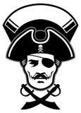 Mascote da cabeça do capitão do pirata Fotos de Stock