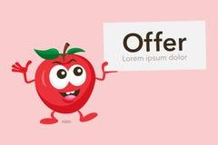 Mascote de Apple com etiqueta da oferta Imagens de Stock