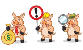 Mascote de creme do porco com sinal Imagem de Stock Royalty Free