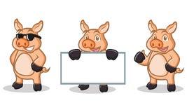 Mascote de creme do porco feliz Fotografia de Stock