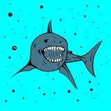 Mascote do ícone da imagem do vetor do handdraw do tubarão imagem de stock royalty free