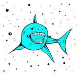 Mascote do ícone da imagem do vetor do handdraw do tubarão fotografia de stock royalty free