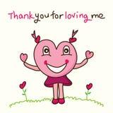 A mascote do amor agradece-lhe Fotos de Stock Royalty Free