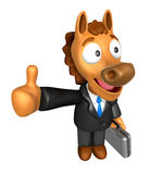 mascote do cavalo 3D o melhor gesto do assistente Fotografia de Stock Royalty Free