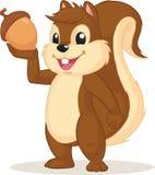 Mascote do esquilo que guarda a porca Fotografia de Stock