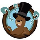 Mascote do groundhog dos desenhos animados no círculo Imagem de Stock Royalty Free