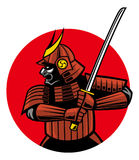 Mascote do guerreiro do samurai Foto de Stock Royalty Free