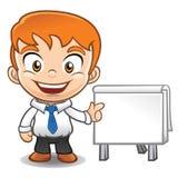 Mascote do homem de negócios que faz a apresentação Fotografia de Stock