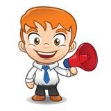 Mascote do homem de negócios que guarda o megafone Fotografia de Stock