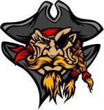 Mascote do pirata com imagem dos desenhos animados do chapéu Imagem de Stock Royalty Free