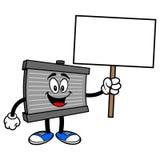 Mascote do radiador com um sinal ilustração do vetor