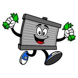 Mascote do radiador que corre com dinheiro ilustração do vetor