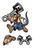 Mascote do rato que guarda um pistão grande Imagens de Stock
