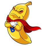 Mascote do super-herói da banana ilustração royalty free