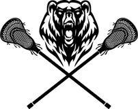 Mascote do urso e vara da lacrosse ilustração stock