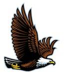 Mascote do voo da águia americana imagem de stock