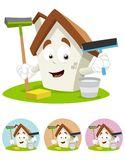 Mascote dos desenhos animados da casa - ferramentas da limpeza da terra arrendada Imagem de Stock Royalty Free