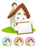 Mascote dos desenhos animados da casa - placa branca Imagem de Stock Royalty Free