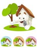 Mascote dos desenhos animados da casa - vai o verde Fotografia de Stock