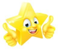Mascote dos desenhos animados da estrela que dá os polegares acima Fotos de Stock