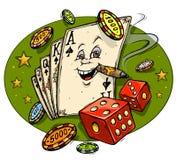 Mascote dos desenhos animados do casino ilustração royalty free