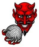 Mascote dos esportes do golfe do diabo ilustração stock