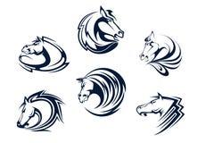 Mascote e emblemas do cavalo Fotografia de Stock Royalty Free