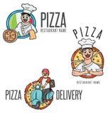 Mascote feliz dos desenhos animados da pizza Fotos de Stock