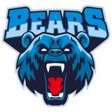 Mascote irritada da cabeça do urso Imagem de Stock